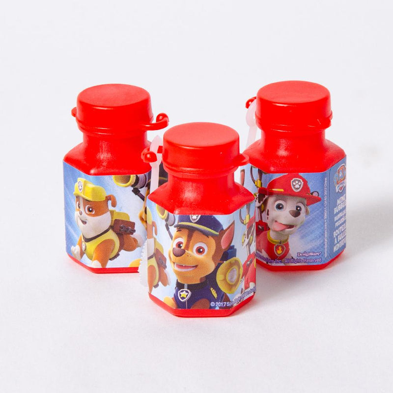 3 paw patrol-themed bubble tubs with images of the Paw Patrol pups