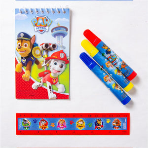 A Paw Patrol stationery set with a notepad, ruler, and 3 pens