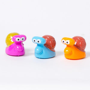 3 plastic racing snail toys in different colours