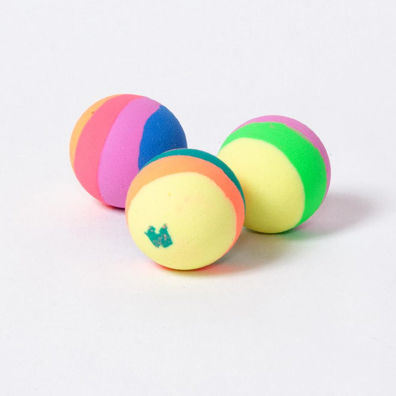 3 bouncy balls with a pastel-coloured stripey design