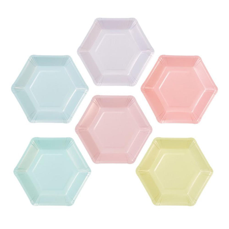 We Heart Pastel Hexagonal Paper Plates (x12)