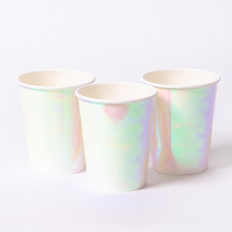 3 iridescent party cups with a white rim