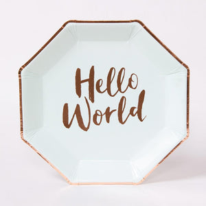 "A pastel green and rose gold foil baby shower plate with the phrase ""Hello World"" written on"