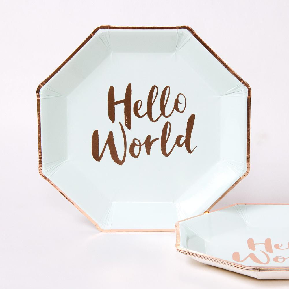 Hello World Party Paper Plates (x8)
