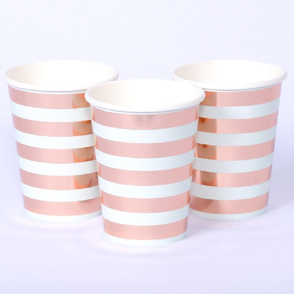 Rose Gold Stripe Paper Party Cups (x8)
