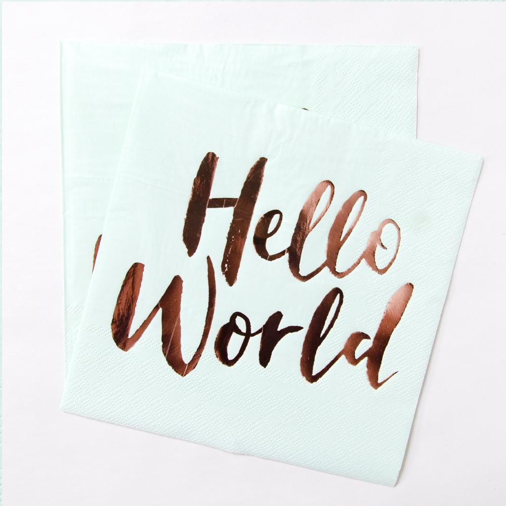 Hello World Party Paper Napkins (x20)