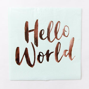 "A pastel-green baby shower party napkin with the phrase ""Hello World"" written on in rose gold foil"