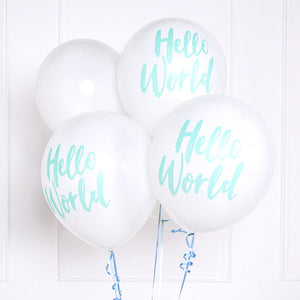"A bunch of white latex Baby Shower balloons with a pastel green phrase saying ""Hello World"""