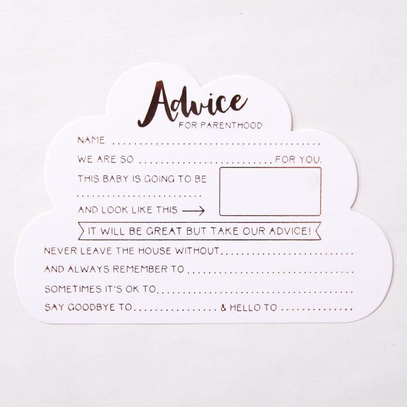 A cloud-shaped baby shower advice card with rose gold foil writing