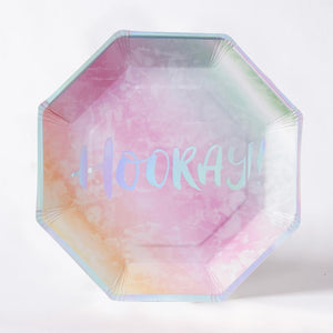 "An octagonal paper party plate with a ""Hooray!"" phrase and pastel rainbow colour"