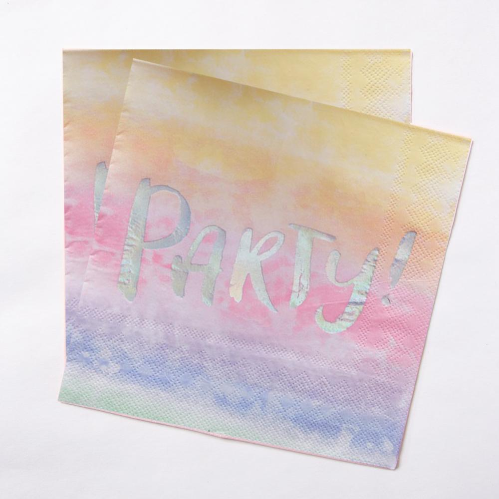 "2 party napkins with a pastel colour and a silver foil ""Party"" phrase"