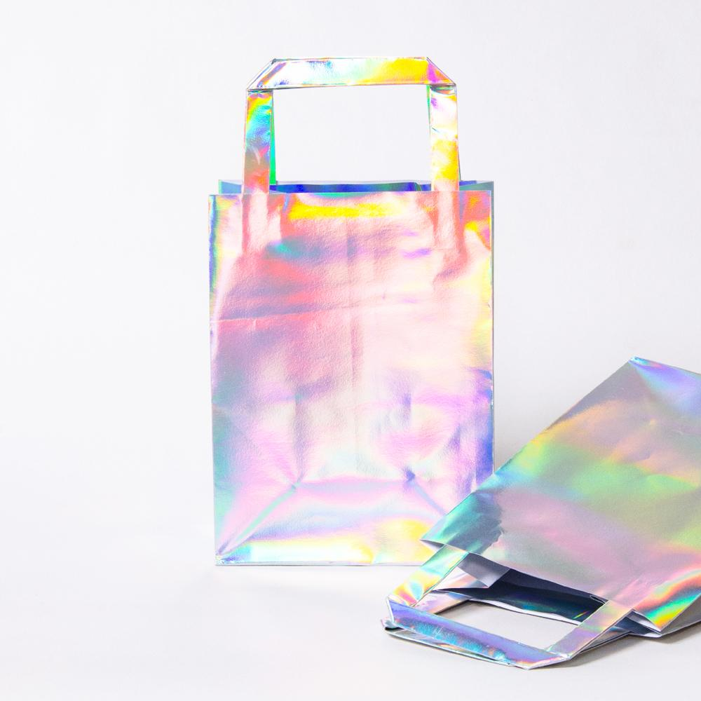 2 iridescent foil party bags