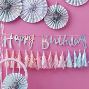 Iridescent Rainbow Happy Birthday Bunting