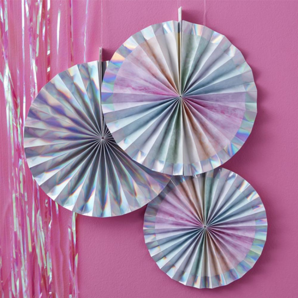 Iridescent Rainbow Fan Decorations (x3)