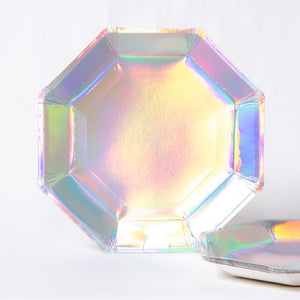 Iridescent Paper Party Plates (x8)
