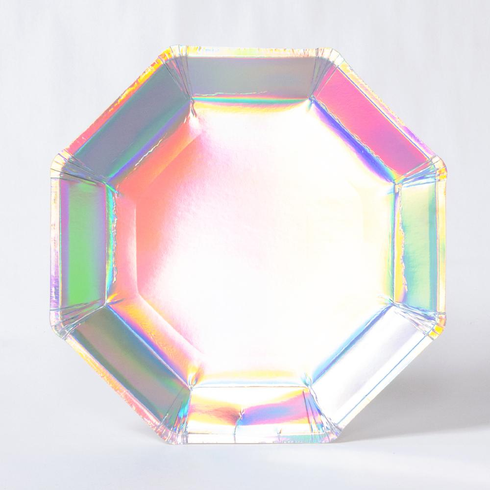 An octagonal party plate with an iridescent foil coating