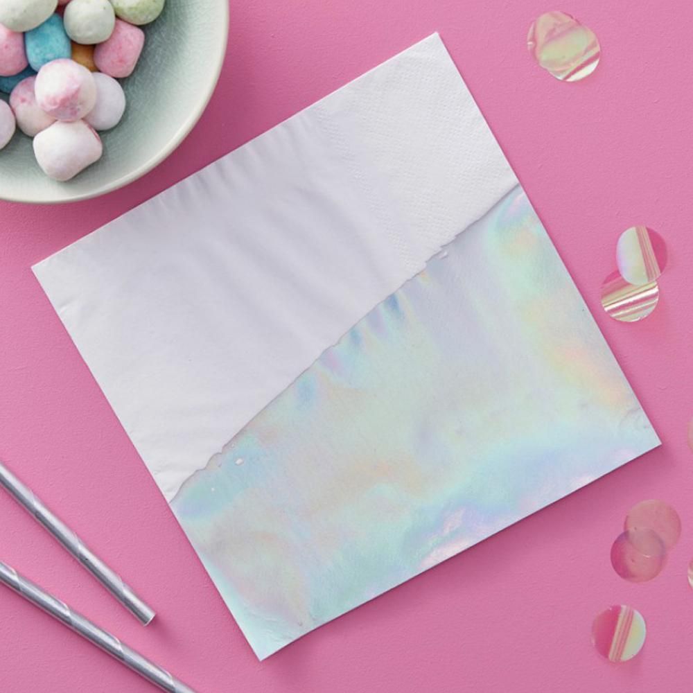 Iridescent Paper Party Napkins (x16)