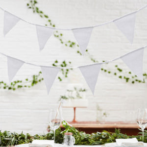 White Fabric Party Flag Bunting