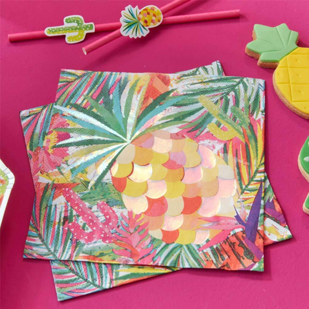 Tropical Party - Iridescent Tropical Party Napkins (x16)