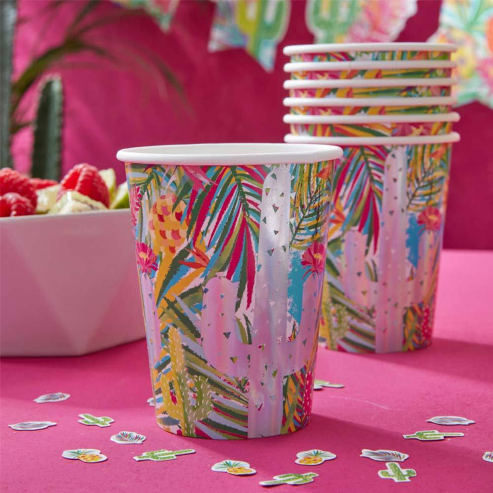 Tropical Party - Iridescent Tropical Party Cups (x8)