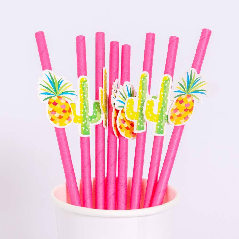 Tropical Party Pink Straws (x16)