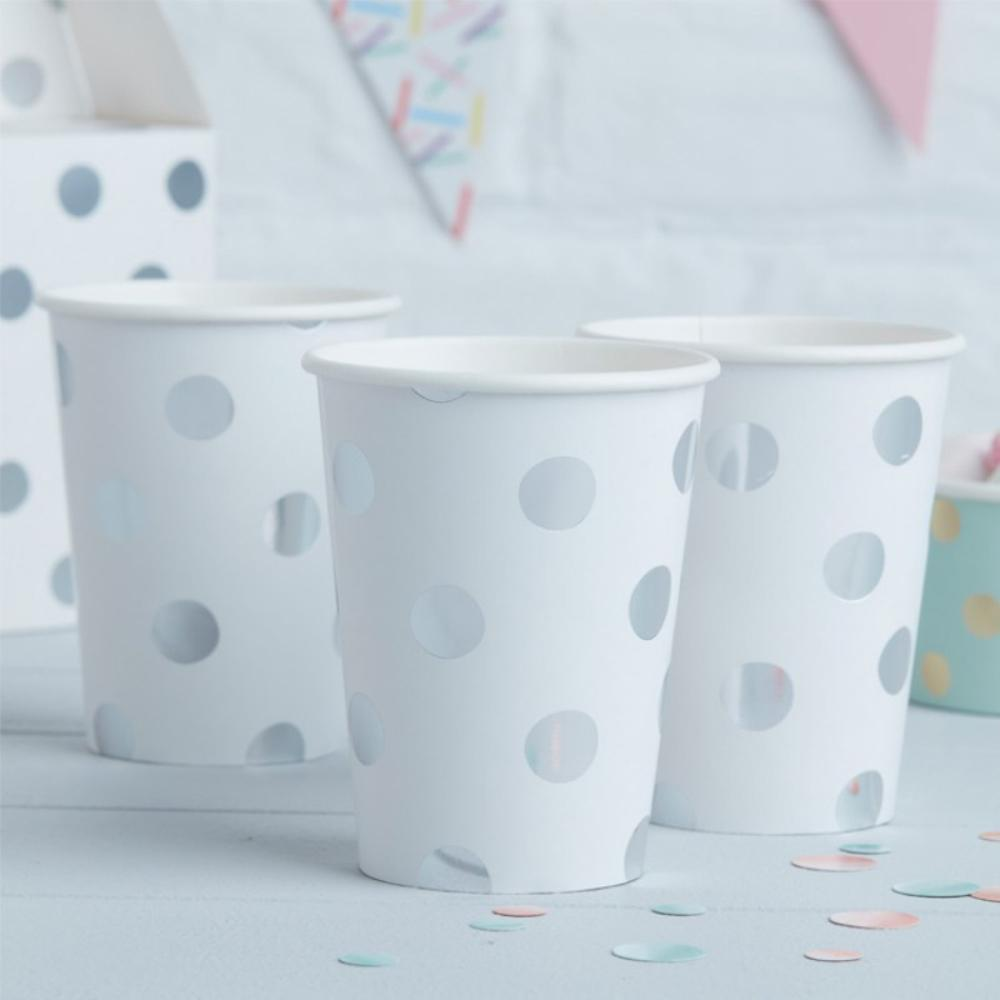 3 white paper party cups with silver foil polkadots
