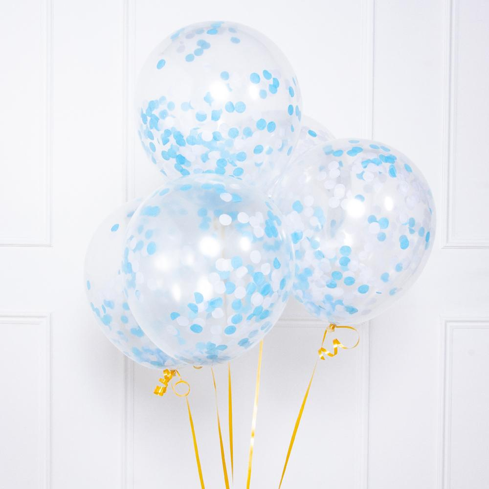 A bunch of 5 clear latex balloons with blue confetti inside
