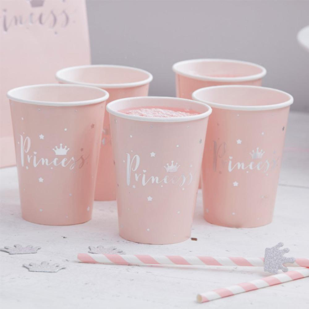 5 pale pink princess-themed party cups with a silver foil trim