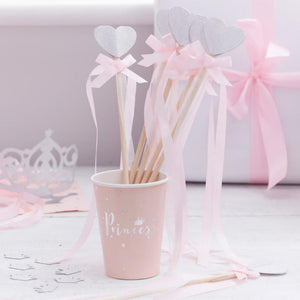 A set of princess-themed party wands with a silver heart and pink ribbon bow