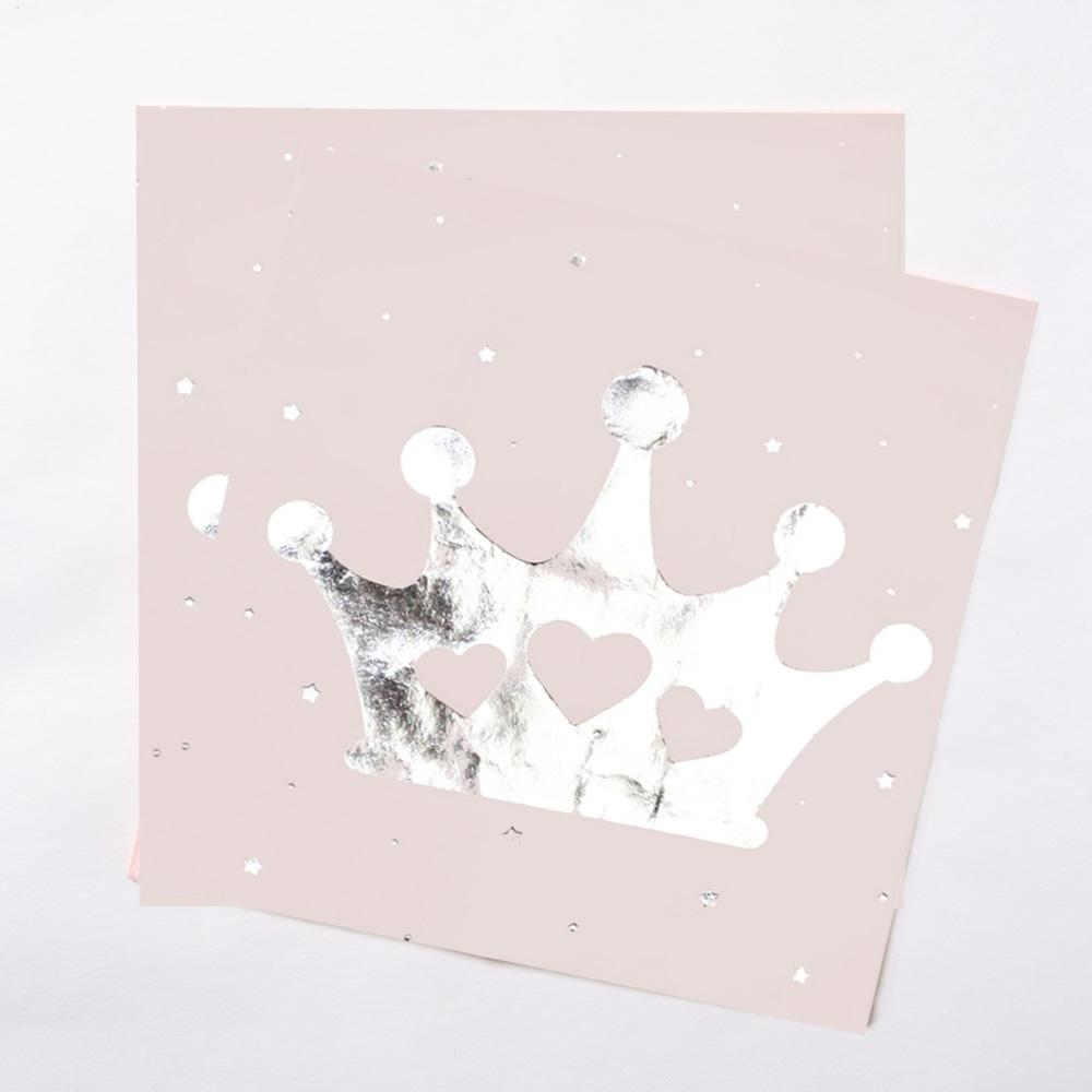 2 pink princess party napkins featuring a shiny silver crown design