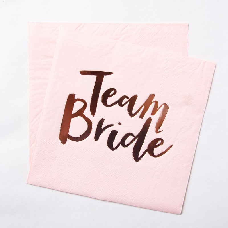 2 pastel pink hen party napkins with a
