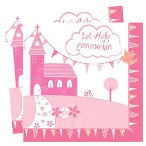 First Communion Napkins - Pink (x16)