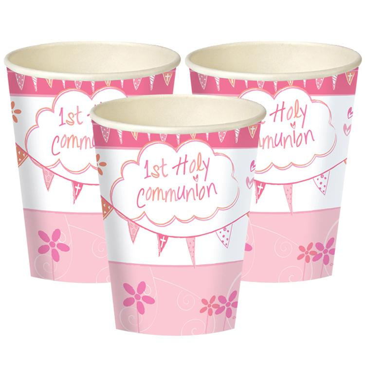 First Communion Cups - Pink (x8)
