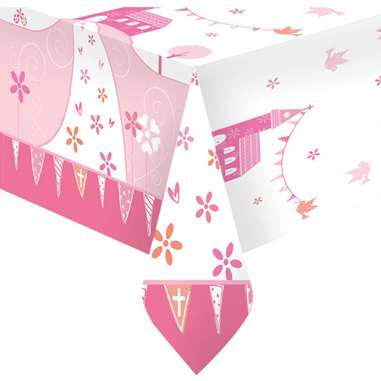 First Communion Plastic Table Cover - Pink