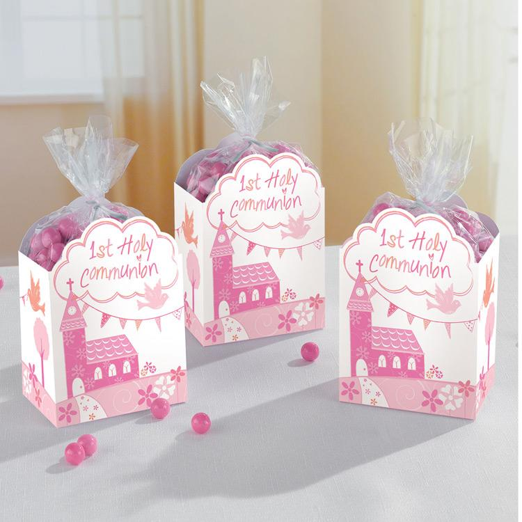 First Communion Favour Boxes - Pink (x8)