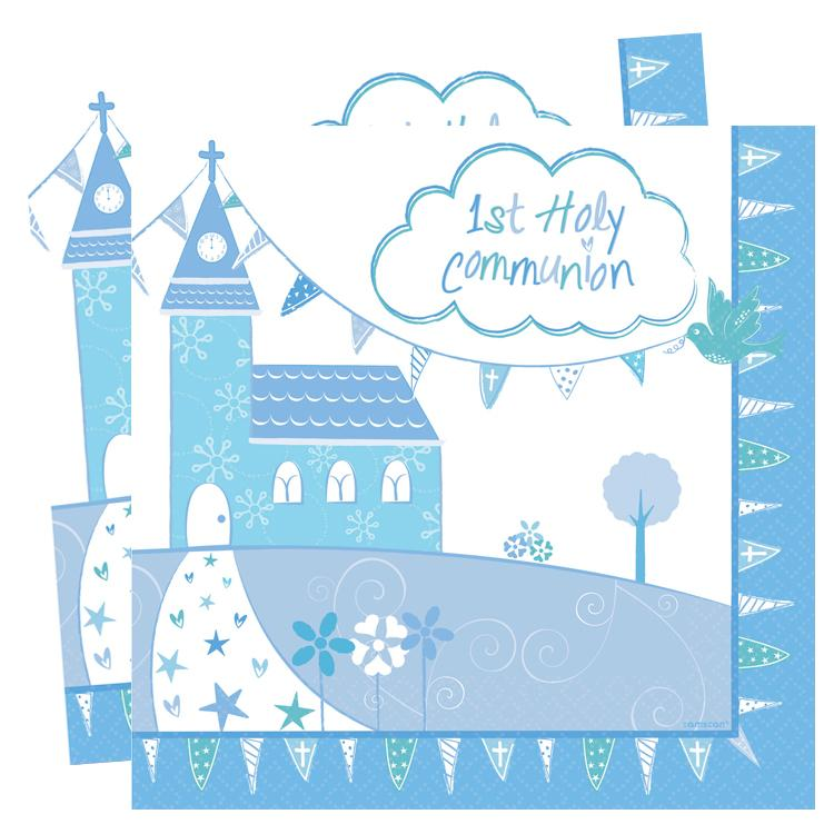 First Communion Napkins - Blue (x16)