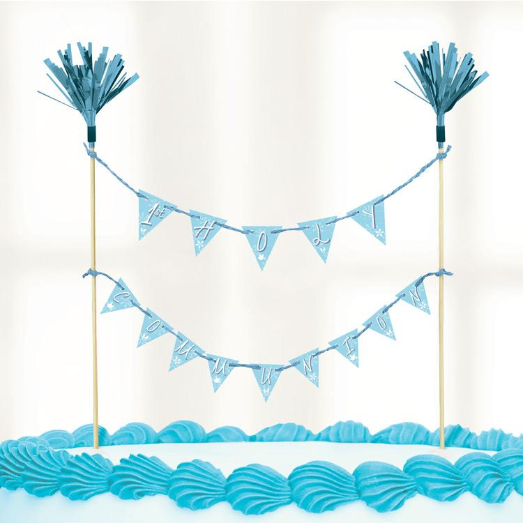 First Communion Cake Bunting - Blue