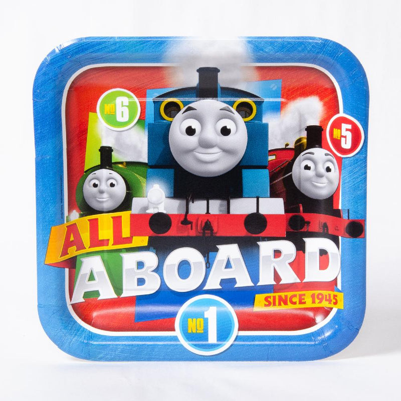 A square Thomas the Tank Engine party plate featuring Thomas, Percy, and James