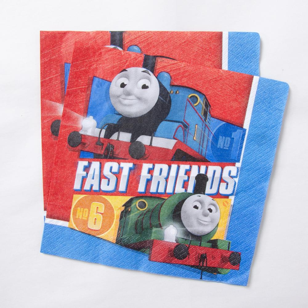 2 Thomas the Tank Engine-themed party napkins