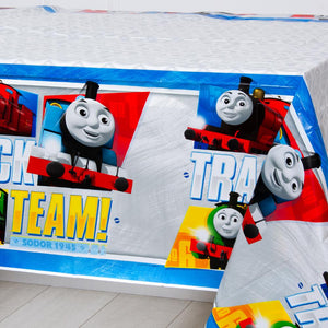 A Thomas the Tank Engine-themed party table cover