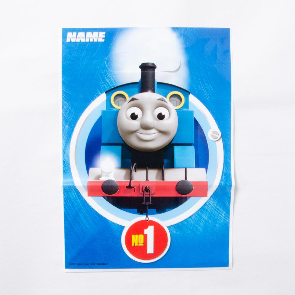 A Thomas the Tank Engine party bag featuring Thomas on the front