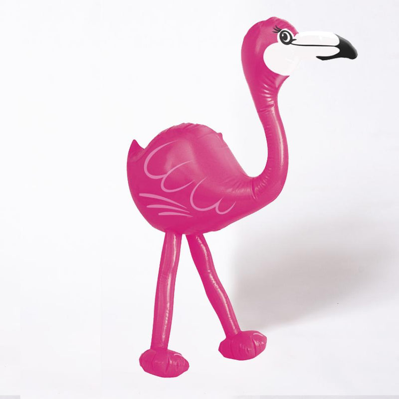 A pink inflatable flamingo with a black and white beak