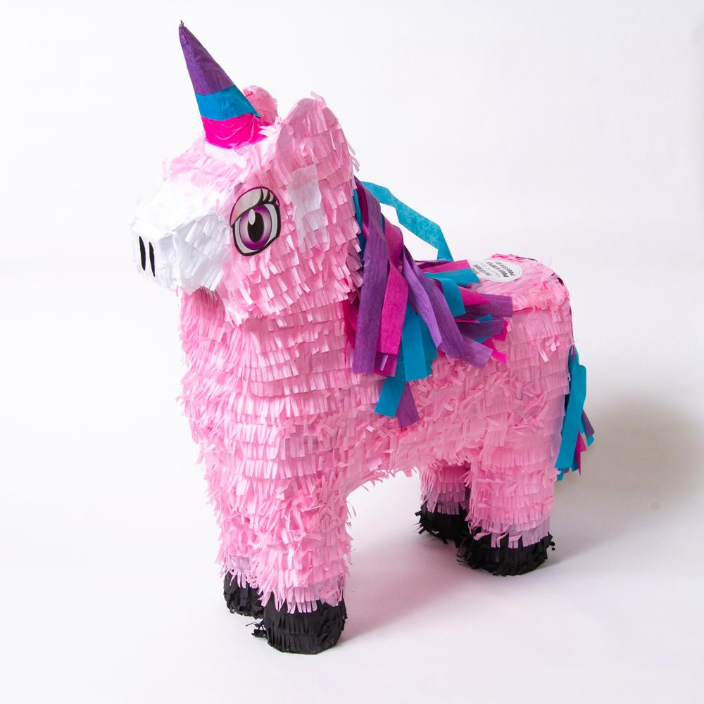 A pink unicorn-shaped party pinata