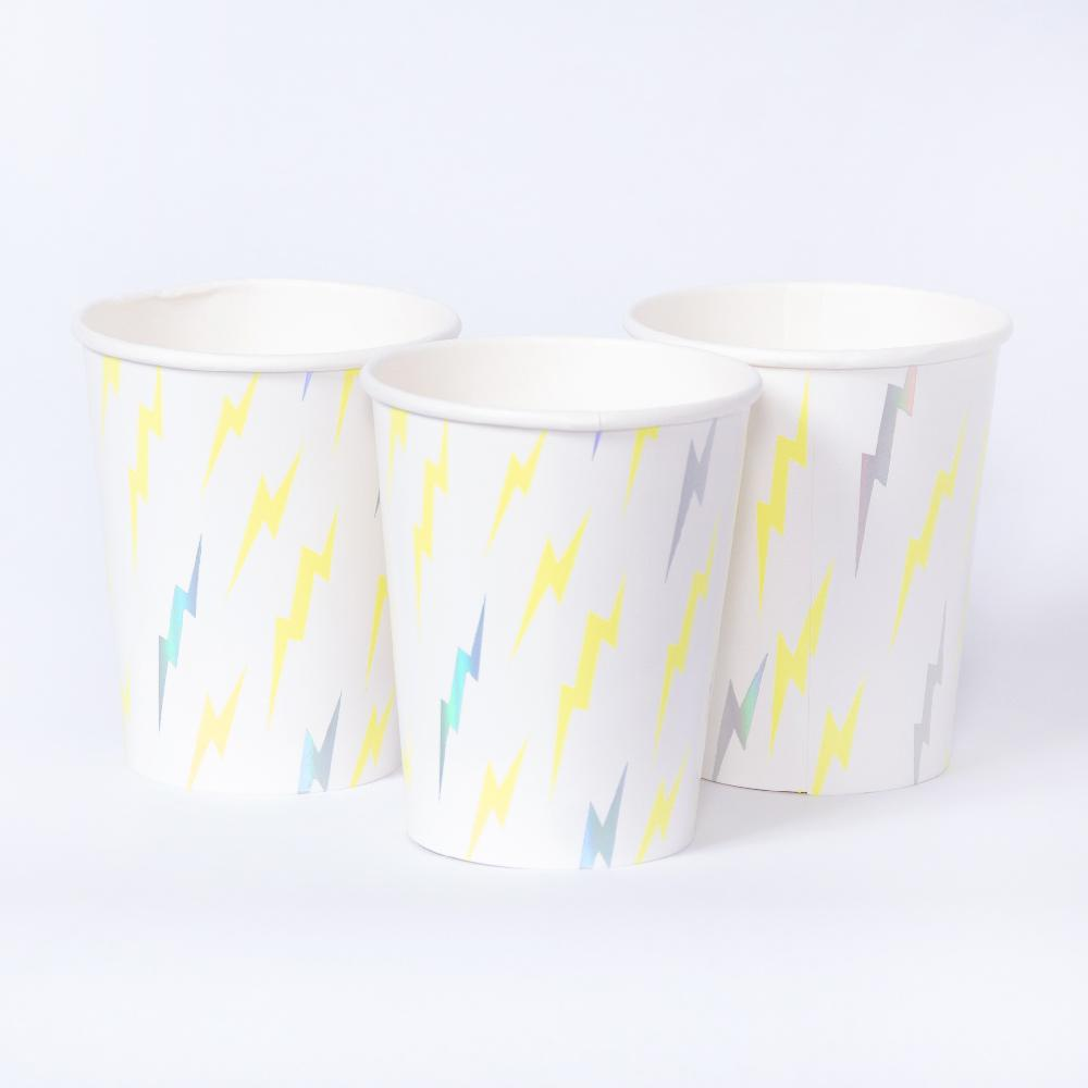 A set of 3 superhero-themed party cups with a lightning bolt pattern