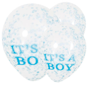 "3 clear gender reveal latex balloons filled with blue confetti and a ""It's a boy!"" phrase"