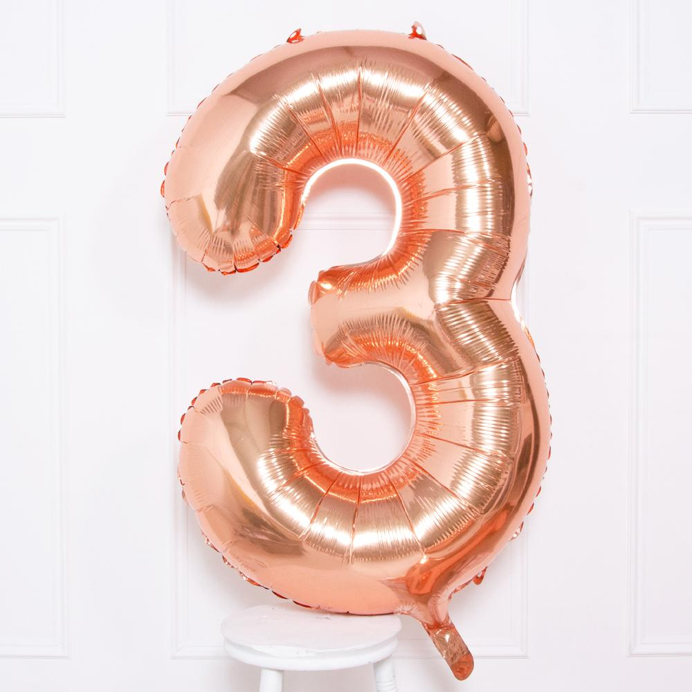 "Supershape Rose Gold 34"" Helium Balloon Number 3"