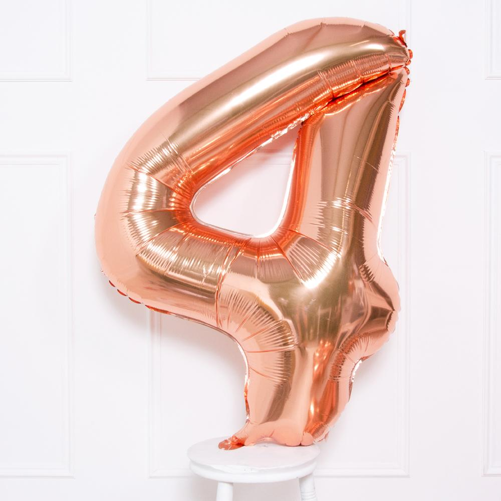 Supershape Rose Gold Helium Balloon Number 4