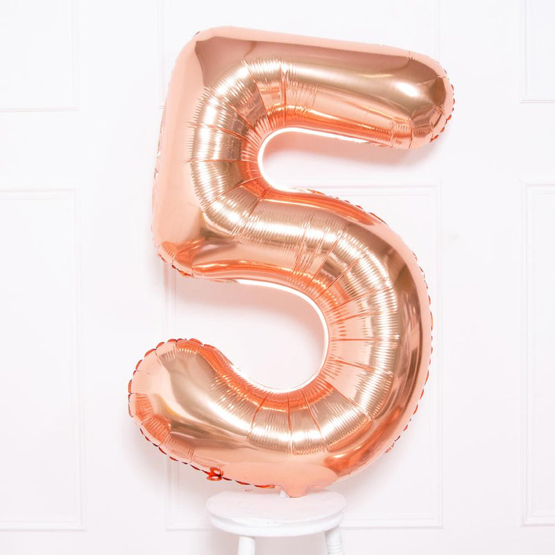 "Supershape Rose Gold 34"" Helium Balloon Number 5"