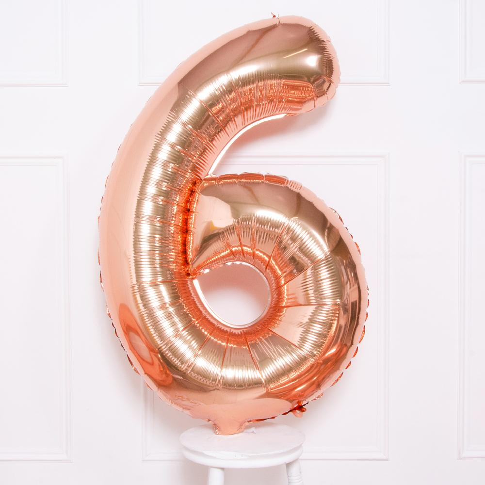 Supershape Rose Gold Helium Balloon Number 6