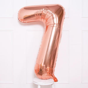 "Supershape Rose Gold 34"" Helium Balloon Number 7"